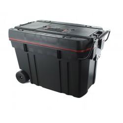 Baule da viaggio con ruote, scomparti interni e coperchio con vaschetta porta oggetti