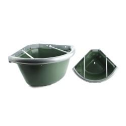 Mangiatoia da box angolare con bordo in ferro, grate antispreco e tappino per pulizia